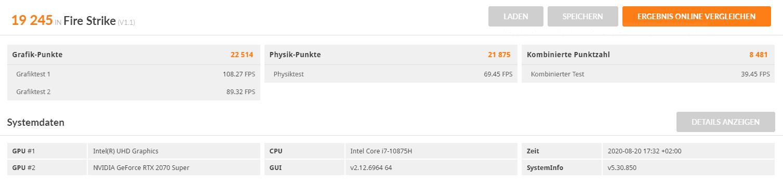 3DMARK Fire Strike DX11_XMG Pro 17